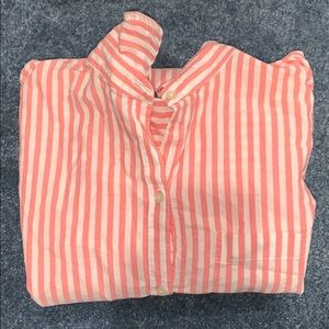 Coral and white stripe top